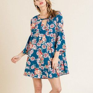 Umgee Floral Print Bell Sleeve Keyhole Dress